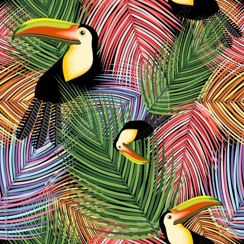 Photo sur Aluminium Draw Toucans and Palm Leaves vector Seamless Textile Pattern Design