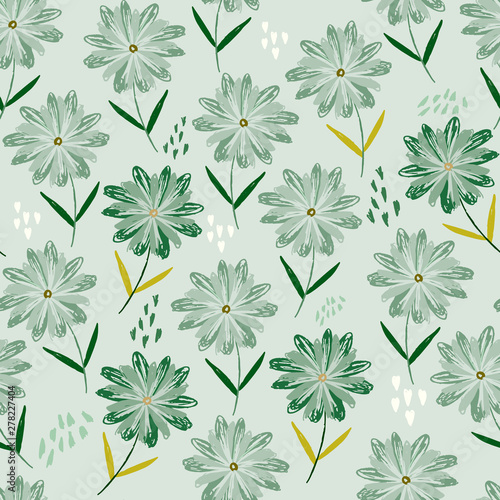 Tender Green Floral Seamless Pattern With Childish Sketch