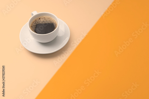 Canvas Prints Cafe black coffee and plate on colorful background with copy space