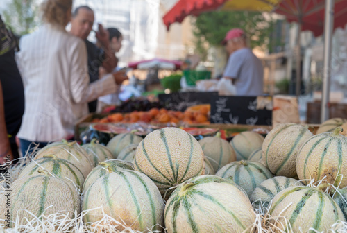 Regional cavaillon melon on the street market provencal, Aix-en-Provence, France Canvas Print