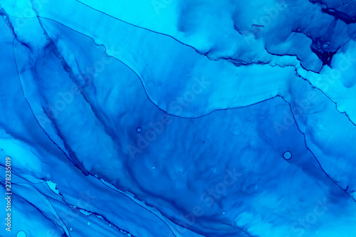 Sky blue watercolor splashes background. Hand drawn azure color painting illustration.