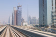 Dubai skyline from Dubai Metro train, in Dubai, United Arab Emirates