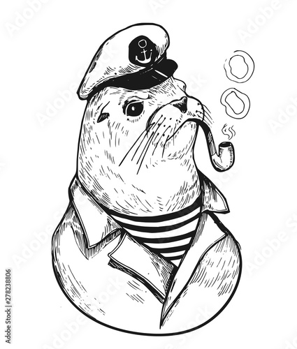 Canvas Print Sea lionl with a smoking pipe in a sailor suit