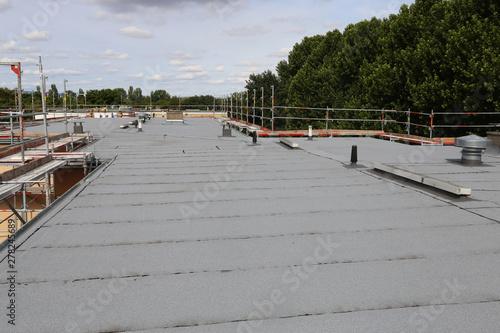 Obraz Waterproofing flat roof with bitumen sealing membranes - fototapety do salonu