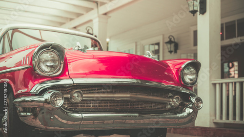 Photo sur Aluminium Retro Parking Vintage Red Car Collection