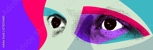 Photographie Looking eyes 8 bit dotted design style vector abstraction, human face stylized design element, with colorful splats
