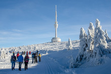 Praded Peak With Transmiter Covered By Ice In Winter Time, Jeseniky, Czech Republic