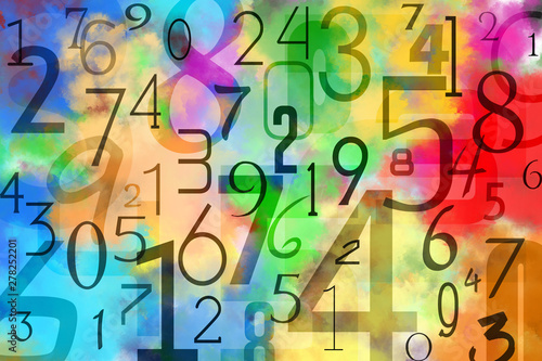 Pinturas sobre lienzo  Colorful numbers background