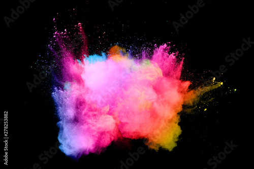 abstract colored dust explosion on a black background.abstract powder splatted background,Freeze motion of color powder exploding/throwing color powder, multicolored glitter texture. - 278253882