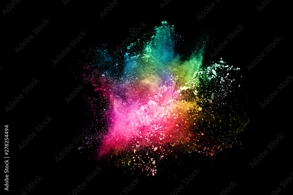 Fototapeta abstract colored dust explosion on a black background.abstract powder splatted background,Freeze motion of color powder exploding/throwing color powder, multicolored glitter texture.