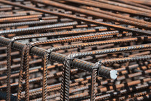 Steel Rebar For Reinforcement Concrete For Pouring The Concrete Base Of The Building.