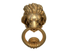 3D Render Of Door Knocker With A Gold Lion Head Isolated On White.