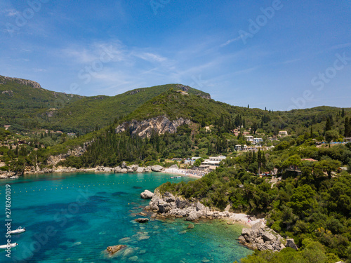 Poster Afrique du Sud Aerial view to Glyko beach and Liapades beach. Photo from drone. Corfu island, Greece