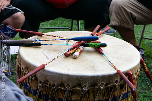 Photo Native American drums for Powwow, United Tribes Powwow, Bismarck, North Dakota