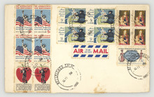Briefmarken Stamps Umschlag Envelope Retro Vintage America Amerika US United States Alt Old Air Mail Luftpost Gestempelt Freiheitsstatue Statue Of Liberty Johnny Appleseed Mary Cassatt Apfel Flag Boot