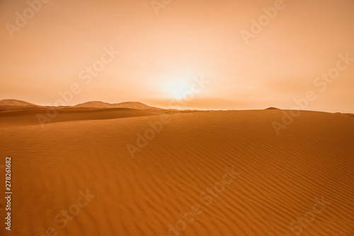 Foto  Majestic beautiful scene of Merzouga dunes of Sahara desert Morocco