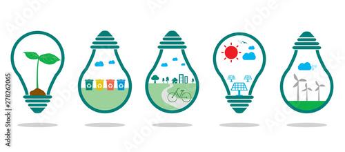 save energy symbol green ,Eco green energy, Save the World, bulb light icon,Vector Illustration