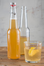 The Glass Of Kombucha Drink Wi...