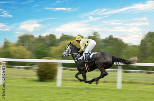 Photo  Race horse with jockey on the home straight. Shaving effect.