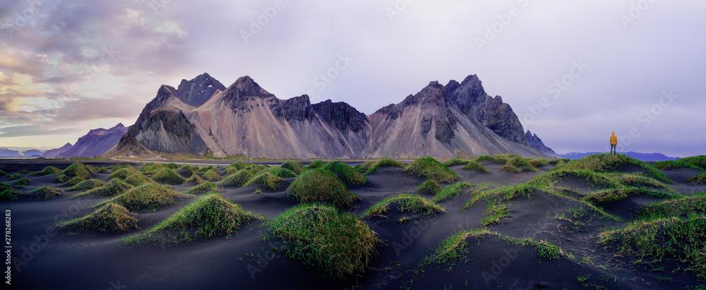 Fototapety, obrazy: Sand dunes on the Stokksnes on southeastern Icelandic coast with Vestrahorn (Batman Mountain). Iceland, Europe.