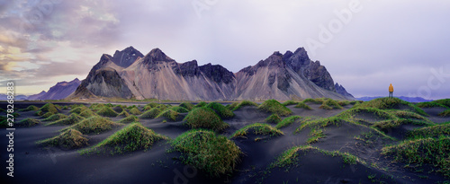Sand dunes on the Stokksnes on southeastern Icelandic coast with Vestrahorn (Batman Mountain). Iceland, Europe.