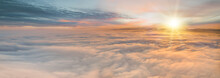 Sunset Sky With Beautiful Clouds From The Airplane Window
