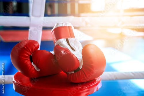 Boxing gloves in modern gym