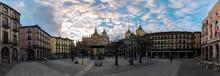 A Panoramic View Of The Plaza Mayor Of Segovia With A Gazebo And The City's Cathedral