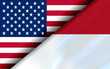 Flags of the USA and Indonesia divided diagonally