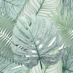 Fototapeta Liście Seamless pattern with tropical leaf palm . Vector illustration.