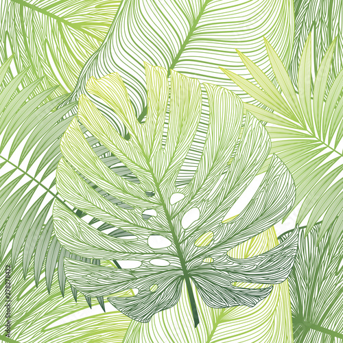 Ingelijste posters Tropische Bladeren Seamless pattern with tropical leaf palm . Vector illustration.