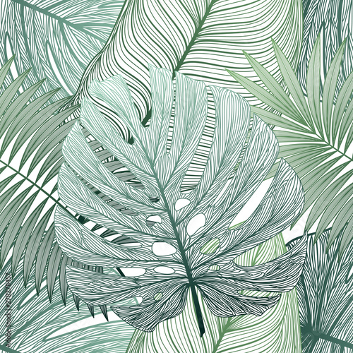 Spoed Fotobehang Tropische Bladeren Seamless pattern with tropical leaf palm . Vector illustration.