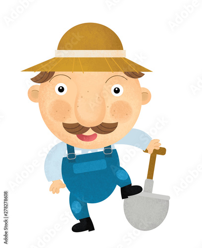 Cuadros en Lienzo cartoon scene with farmer on white background - illustration for children