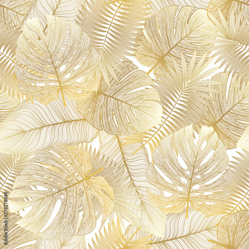 Plakaty botaniczne   seamless-pattern-with-tropical-leaf-palm-vector-illustration
