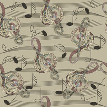 Seamless Pattern With Abstract Music Notes. Vector Illustration. EPS 10