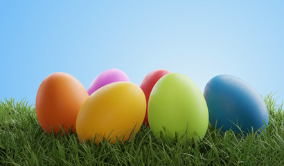 Easter eggs green grass 3d-...