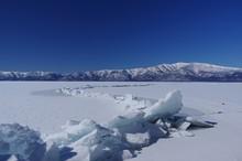 Frozen Lake, Lake Kussharo In ...