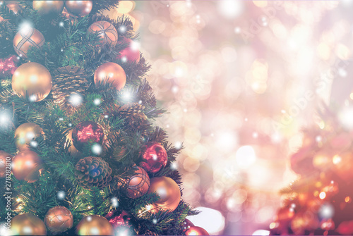 Spoed Foto op Canvas Bomen Christmas Background with bokeh light; Blurred Xmas background