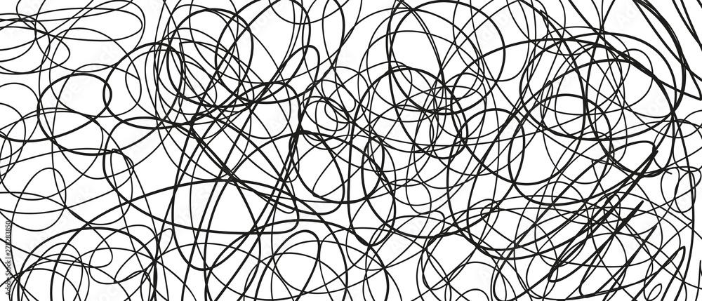 Fototapeta Abstract сhaotic texture. Monochrome wallpaper. Hand drawn dinamic scrawls. Black and white illustration