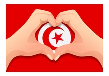 Tunisia Flag And Hand Heart Shape