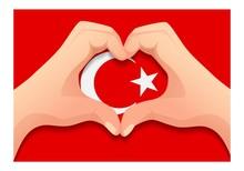 Turkey Flag And Hand Heart Shape