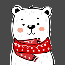 Cute Bear Character With Scarf. Vector Illustration For Birthday Invitation,postcard And Sticker