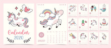 Doodle Pastel Calendar Set 2020 With Unicorn,rainbow,ice Cream For Children.Can Be Used For Printable Graphic
