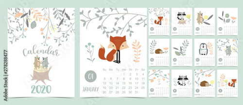 Obraz Doodle pastel woodland calendar set 2020 with fox,porcupine,penguin,bear,skunk,flower,leaves for children.Can be used for printable graphic.Editable element - fototapety do salonu