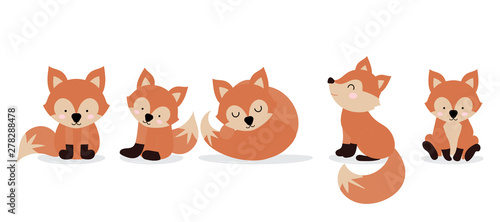 Photo Cute fox character are standing,sitting and sleeping