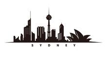 Sydney Skyline And Landmarks Silhouette Vector
