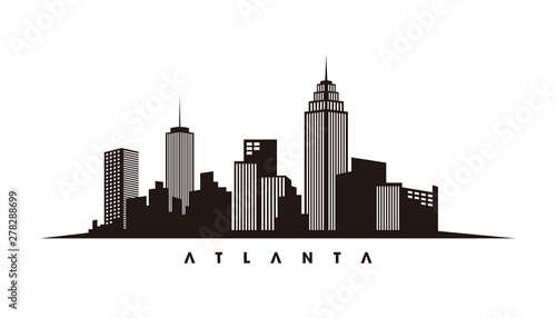 atlanta skyline and landmarks silhouette vector stock vector | adobe stock  adobe stock