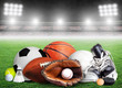 Sports Equipment For All Seasons in Stadium Background