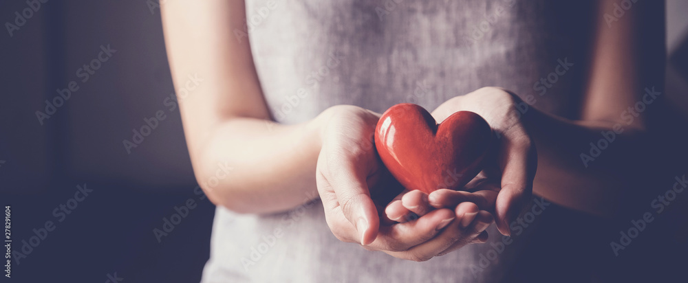 Fototapety, obrazy: Asian woman holding red heart, health insurance, donation charity concept
