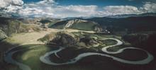 River Wriggling Through Russians Alpine Altai Region